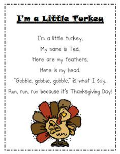 Mrs. Albanese's Kindergarten Class: Happy Thanksgiving!  Not sure if it was made to do this, but you can sing this to the tune of I'm a Little Teapot, so cute.