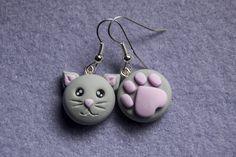 Orecchino Gatto e Zampa (grigio)
