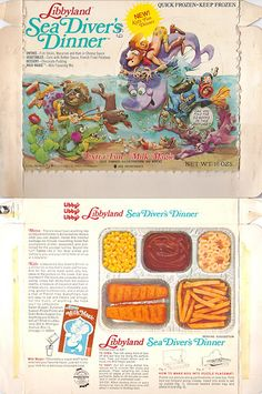 1972 Libbyland Sea Diver's Dinner Box (gregg_koenig) Tags: old sea dinner vintage frozen milk tv kid divers box gene magic libby mean 1972 libbyland Vintage Packaging, Food Packaging, Retro Recipes, Vintage Recipes, Dinner Box, Vintage Tv, Vintage Food, Dinner Entrees, I Remember When