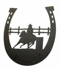 """Barrel Race HorseSHOE Wall Decor by Innovative Fabricators, Inc.. $16.00. Black wrinkle powder coat. Laser cut from 18 gauge steel. Hangs - does not sit alone. Made in the USA. Description: A barrel racer rounds the barrel. Laser cut for the highest detail and quality. Designed to mount on a wall or similar surface. Size: 8"""" x 7"""". Material: 18 gauge steel. Finish: Black wrinkle powder coat."""
