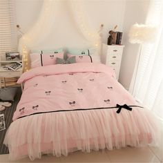 Kids Bedding Sets, Cotton Bedding Sets, Ruffle Bedding, Cotton Duvet, Girl Bedding, Bed Cover Design, Green Bedding, Black Bedding, Simple Bed