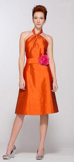 Orange silk bm dress