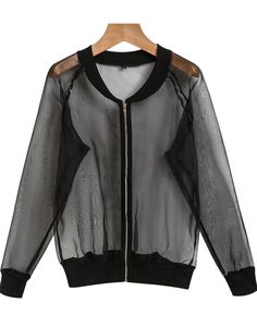 To find out about the Black Sheer Gauze Bomber Jacket at SHEIN, part of our latest Jackets ready to shop online today! Cozy Fashion, Indie Fashion, Fashion Outfits, See Through Jacket, Style And Grace, My Style, Mesh Jacket, Lingerie Collection, Clothes