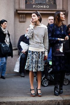 Love the look, shop the look. Striped sweater + printed mini skirt, plus mary jane heels, and more...