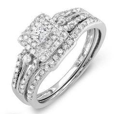 0.50 Carat (ctw) 14k White Gold Round & Princess Diamond Ladies Bridal Engagement Ring Matching Band Set 1/2 CT...
