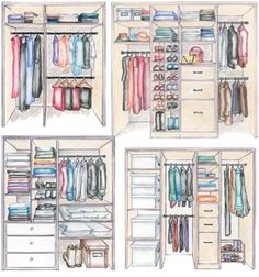 Closet layouts, top left would probably work the best for us