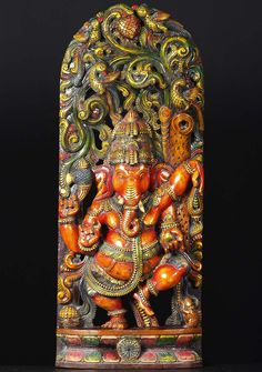 View the Dancing Wood Ganesh in Jungle 36""