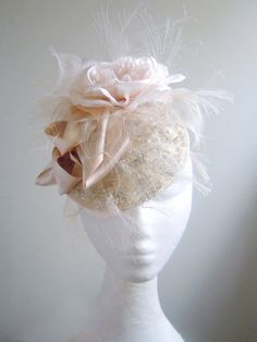 Cream & Silver Sequined Bridal Facinater- Handmade Millinery by Natalilouise.