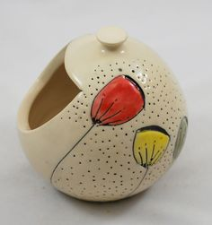 White Salt Pig or Cellar with Colorful Flowers Wheel Thrown Pottery.
