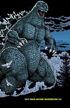 Godzilla Fifty Miles outside Washington DC (comic panel)