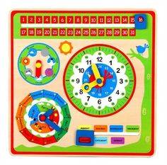 New Classic Toys - Calendar Clock - only available in the Dutch language School Calender, Seasons Chart, Wooden Calendar, English Games, Weather Seasons, Support Mural, Preschool Toys, Event Calendar, Classic Toys