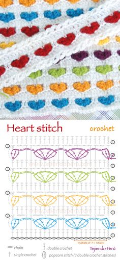 Crochet heart stitch diagram (pattern or chart)! ༺✿ƬⱤღ  https://www.pinterest.com/teretegui/✿༻