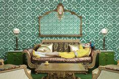 Madonna Inn by Aaron Ruell for Paper Magazine, green wallpaper, interior design