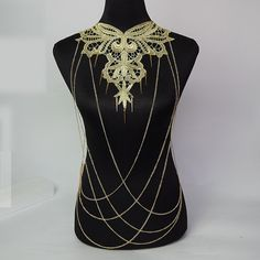 large golden lace chain beaded bib necklace / spike by LaceFancy