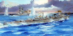 Pinturas marina II Guerra Mundial — 1942 04 07 Guadalcanal, Sinking of destroyer Aaron. Military Diorama, Military Art, Guadalcanal Campaign, Imperial Japanese Navy, Navy Ships, Ship Art, World War Ii, Wwii, Sailing