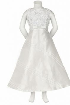 Cute White A-line Sleeveless Taffeta Bowknot And Flowers First Communion Dress