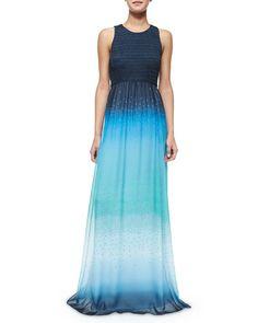 TA6EB Diane Von Furstenberg Konfetti Ombre Maxi Dress, Blue