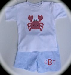 Personalized and Customized Boy's Appliqued Crab and Seersucker Shorts...Great for Spring and Summer. $32.50, via Etsy.