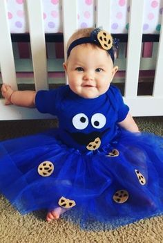 Cute Baby Halloween Costumes, Baby Halloween Costumes For Boys, Cute Halloween Costumes, Halloween Kids, Baby Girl Costumes, Group Halloween, Cookie Monster Halloween Costume, Cookie Costume, Halloween Couples