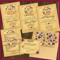 50th Wedding Invitations, Floral Tuscany Antique Wedding Invitations, RSVP, Accommodation Cards, Custom Design, Romantic Theme, Pocket Folds by SaveTheDateMagnets4U on Etsy 50th Anniversary Invitations, Romantic Themes, Floral Wedding Invitations, Tuscany, Rsvp, Custom Design, Pocket, Antique