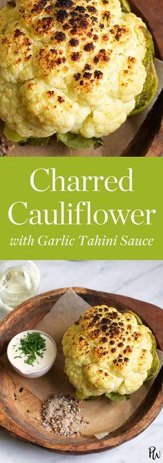 Charred Cauliflower with Garlic Tahini Sauce #purewow #side dish #easy #food #cooking #cauliflower #recipe
