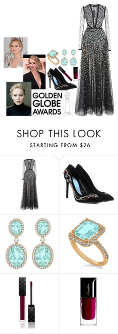 """j.l. golden globes 2017"" by dancekaty ❤ liked on Polyvore featuring Elie Saab, Lanvin, Allurez, Gucci, Guerlain and GoldenGlobes"