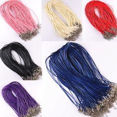 10 Unids/lote Cadenas Collares de Cuero Pulsera Colgante de Los Encantos Con Corchete de la Langosta Joyería de DIY Que Hace Resultados de la Cuerda de 1.5mm