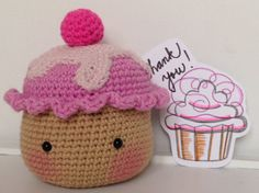Crochet Blushing Cupcake  Amigurumi  Crochet Food by LillyAndBelle