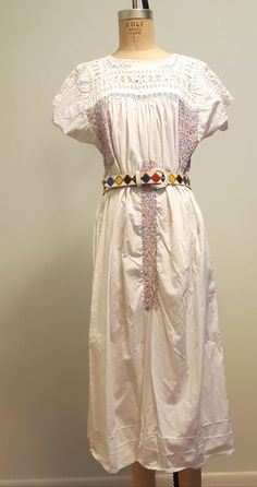 Vintage 70s Oaxacan Mexican Wedding Dress. Hand Embroidered. Openwork. Little People. Med to Lg by RecyclingTheBlues on Etsy
