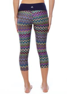 Capri - Jacquard with Navy Waist   PRISMSPORT   Fashionable Yoga Tops, Pants & Athletic Apparel
