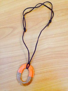 Hermes Inspired Pendant Handmade Fashion Orange Lacquer Buffalo Horn Necklace