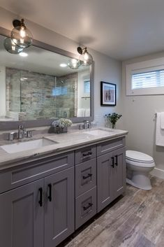 Check out these small bathroom remodels and acquire inspired for your bordering house project. Most Popular Small Bathroom Designs On a Budget 201980 Amazing Tiny House Bathroom Shower Amazing Bathroom Design Ideas For Small Space Bad Inspiration, Bathroom Inspiration, Bathroom Renos, Bathroom Small, Grey Bathroom Cabinets, Dark Gray Bathroom, Gray And White Bathroom Ideas, Grey Bathroom Vanity, Bathroom Pink