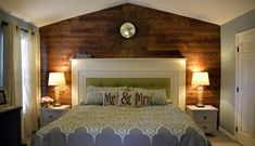 Master Bedroom Retreat: Wood Accent Wall & Upcycled Mantel Headboard.  DIY project that we worked on to transform the master bedroom  (Inspired by Pinterest photo the wife found).  Contains information on installing the wood wall, building the mantel headboard, painting / up-cycling furniture pieces.