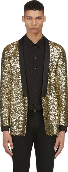 Saint Laurent - Gold Sequined Blazer. Body: 100% polyester. Trim: 100% polyester. Lining: 100% silk. Made in Italy. 5250