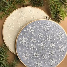 I know most of us aren't ready for snow quiiite yet, but these hoops don't make themselves so I've been busy working ahead for the holidays! Lots of winter snowflakes coming in hot - or.. cold? - at @bijoumarket on November 16th & 17th. ❄️❄️❄️