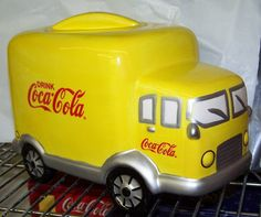 *COCA-COLA ~ Yellow Delivery Truck Cookie Jar