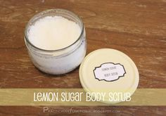 This lemon sugar body scrub is part of the relaxing home spa kit I made for my mom for Mother's Day this year. This was actually my favorite piece of the whole home spa kit!