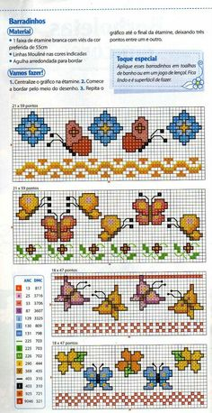 flowers and butterflies borders Cross Stitch Letters, Cross Stitch For Kids, Cross Stitch Books, Cross Stitch Bookmarks, Mini Cross Stitch, Cross Stitch Heart, Cross Stitch Borders, Cross Stitching, Cross Stitch Embroidery