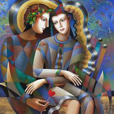 Friendly Meeting 2016 50x50 by Oleg Zhivetin - Mixed Media on Linen