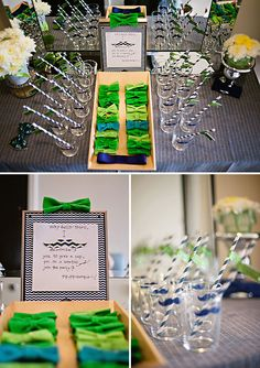Guests arrived to find their own bow tie to don and a glass adorned with a cute mustache - Little Man Themed Baby Shower