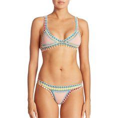 Kiini Luna Bikini Top ($175) ❤ liked on Polyvore featuring swimwear, bikinis, bikini tops, apparel & accessories, beige, triangle swimsuit top, triangle bikini, swim suit tops, triangle bikini bottoms and colorful swimwear