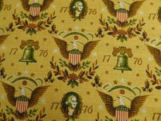 Vintage-Barkcloth-Yellow-Colonial-Revolutionary-1776-Eagle-House-N-Home-Fabric
