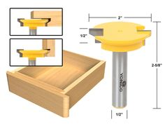 """Joinery :: Glue Joint :: Reversible Glue Joint :: Drawer Front Joint Router Bit - Reversible - 1/2"""" Shank - Yonico 15133"""