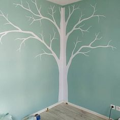 From StudioQuee on Etsy: Tree wall decal and monogram decal wall mural stickers Tree Wall Painting, Tree Wall Murals, Tree Wall Art, Tree Bedroom, Bedroom Girls, Bedroom Wall, Girl Room, Baby Room, Geometric Wall Paint