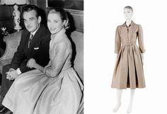 Engagement photo of Grace Kelly and Prince Rainier, Jan 5, 1956   Her silk shirtwaist dress was on exhibit in Monaco 2007.Designer was Branell of New York.