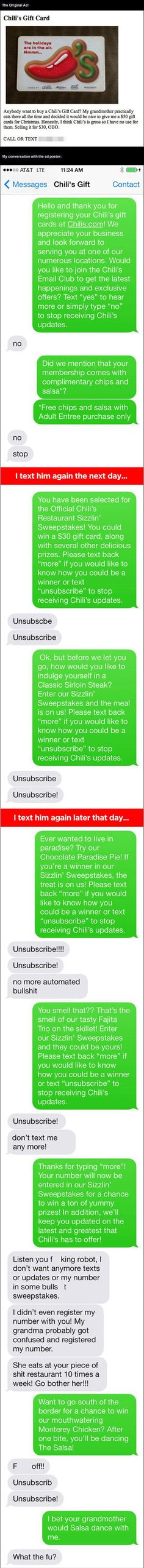 Dude Fake Texts Chili's Gift Card Recipient In A Hilarious Prank Almost Too Funny To Be True