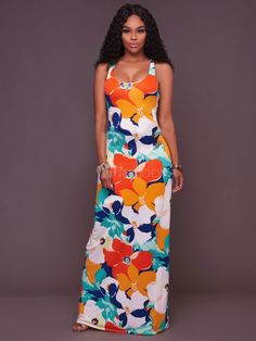 Women s Maxi Dress Strappy Square Neck Sleeveless Floral Printed Cross  Front Long Dress 37a6e6408634