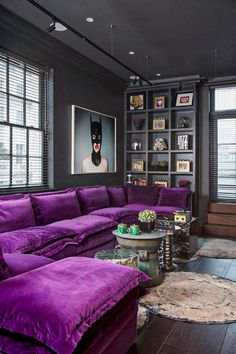 Living room decor apartment purple couch ideas for 2019 Living Room Decoration purple living room decor Living Room Designs, Living Room Decor, Bedroom Decor, Purple Living Rooms, Dark Purple Bedrooms, Purple Rooms, Dining Room, Cat Couch, Sofa Design