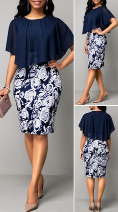 Navy Blue Faux Two Piece Flower Print Dress HOT SALES beautiful dresses, pretty dresses, holiday fashion, dresses Short African Dresses, Latest African Fashion Dresses, Women's Fashion Dresses, African Print Fashion, Korean Fashion, Classy Work Outfits, Classy Dress, Stylish Outfits, Mode Outfits