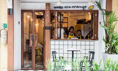 Make Me Mango, a cute, yellow-themed cafe near Tha Tien (Wat Pho), is all about—you guess it—mango. Step inside the two-story, single-unit shop-house and you won't believe how they manage to make use of the space, zoning it as if there were four stories.